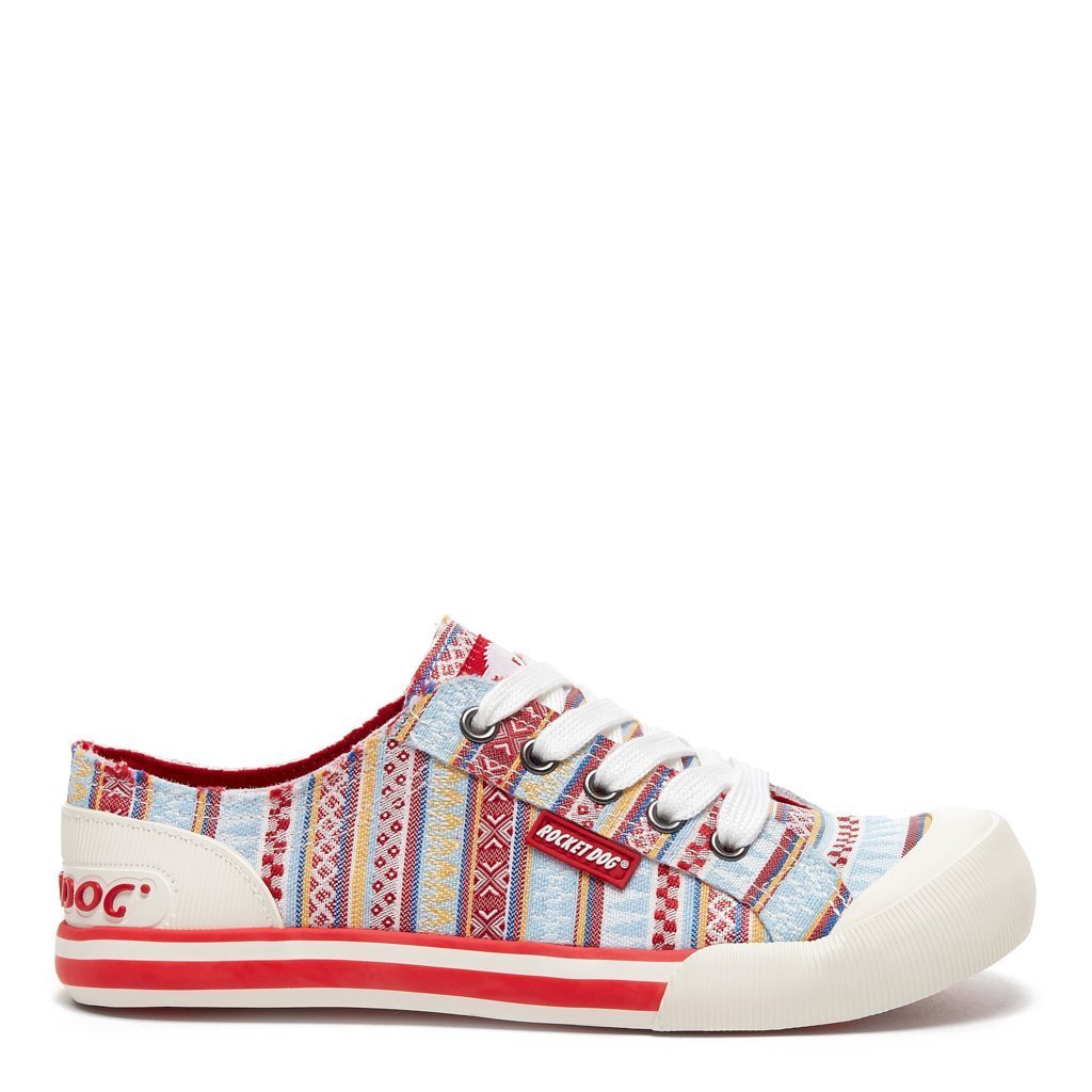Jazzin Red Multi Stripe Sneaker