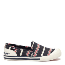 Jazzin Slip Red and Blue Stripe Slip On