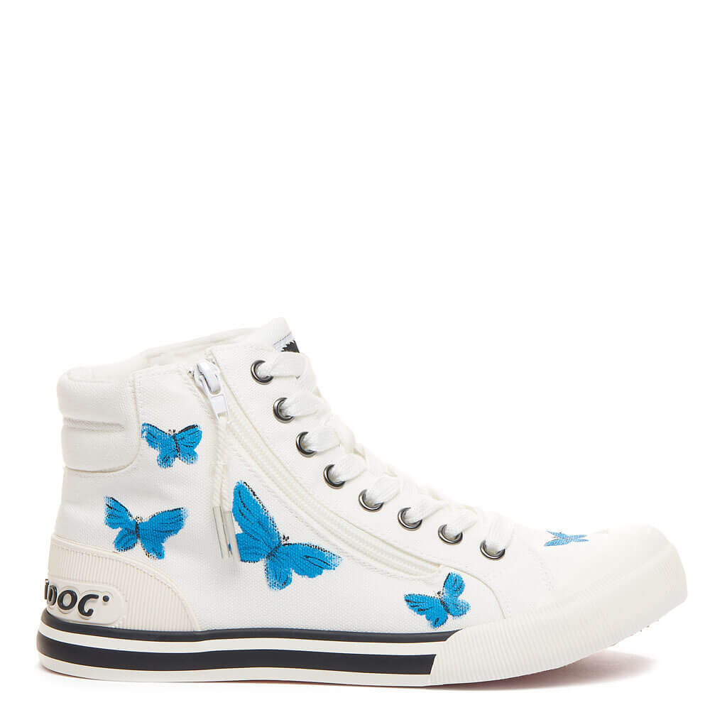 Jazzin White Butterfly Art High Top Sneaker