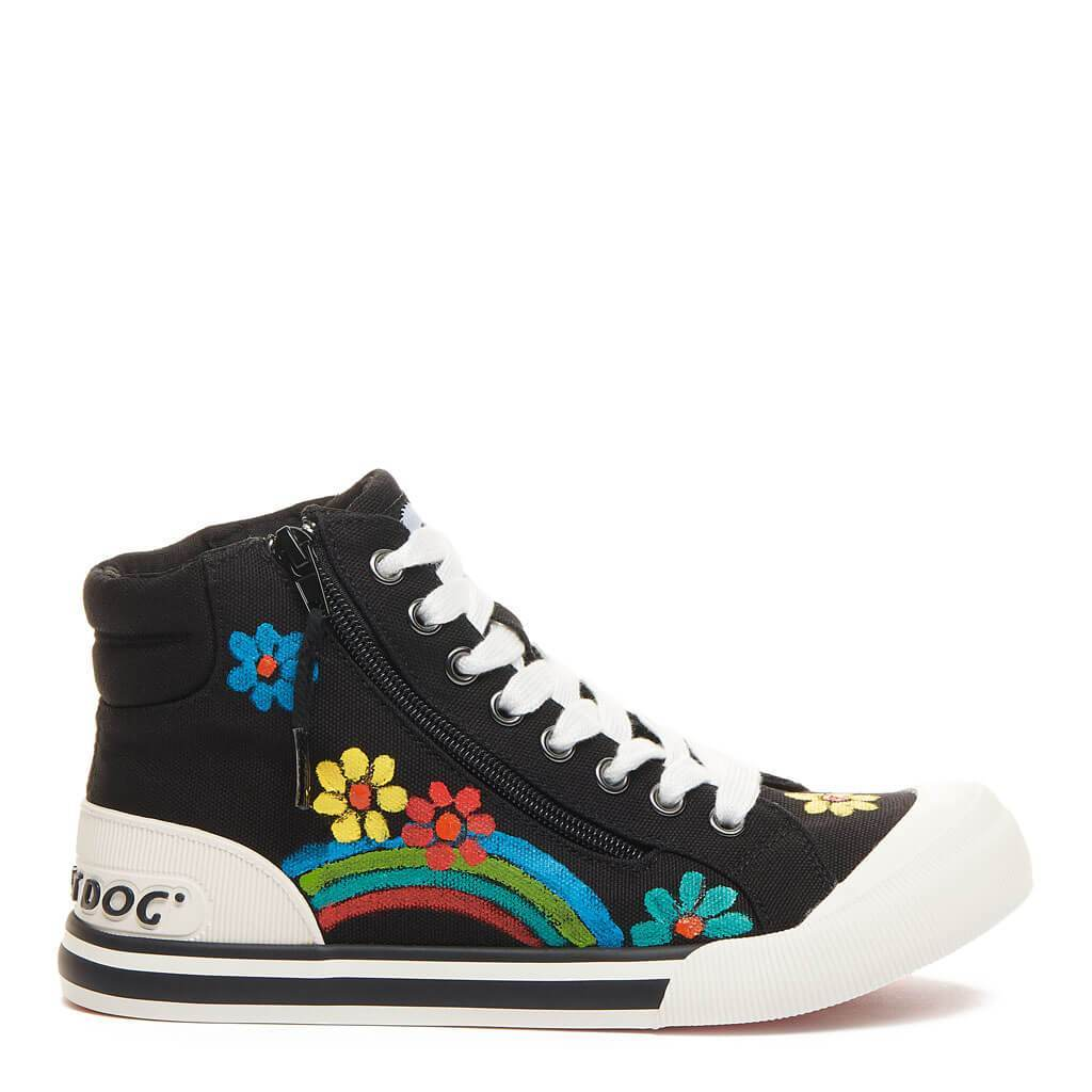 Jazzin Black Flower Art High Top Sneaker