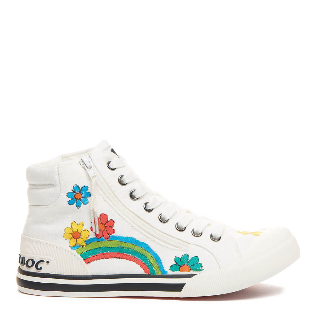 Jazzin White Flower Art High Top Sneaker