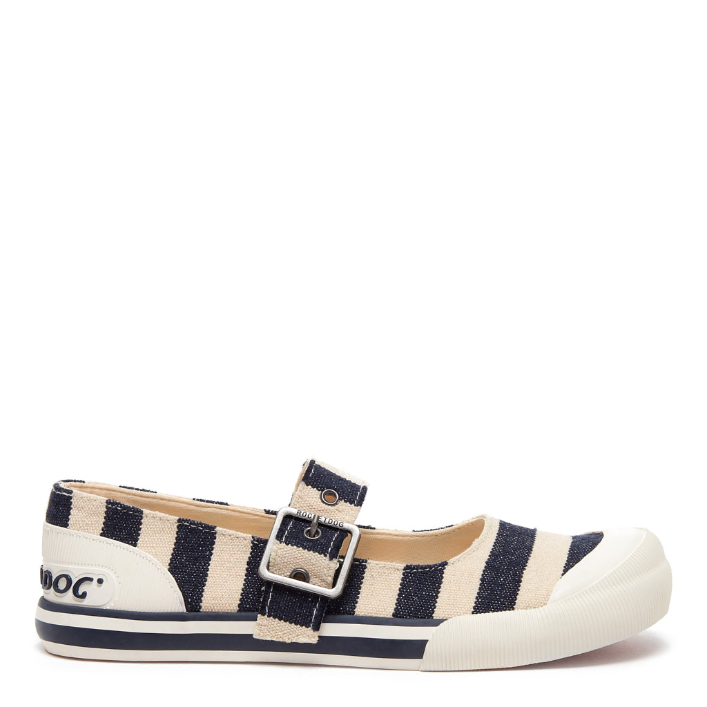 Jazzin Jane Navy Stripe Slip On