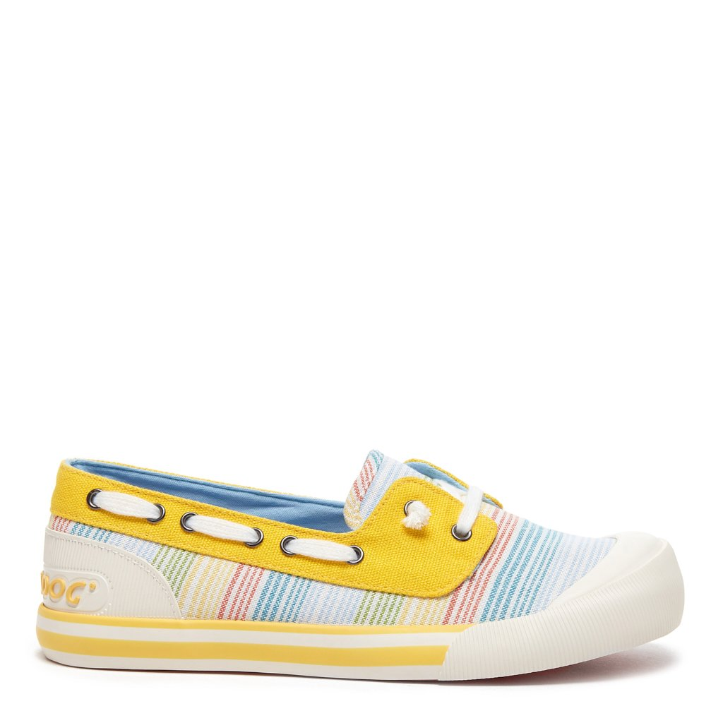Jazzin Jetty Yellow Pastel Stripe Slip On