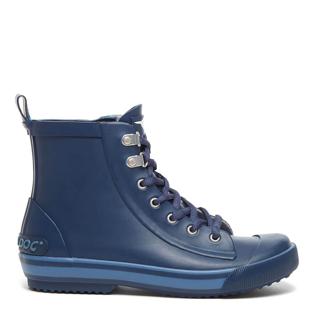 Rainy Navy Lace Up Rain Boot