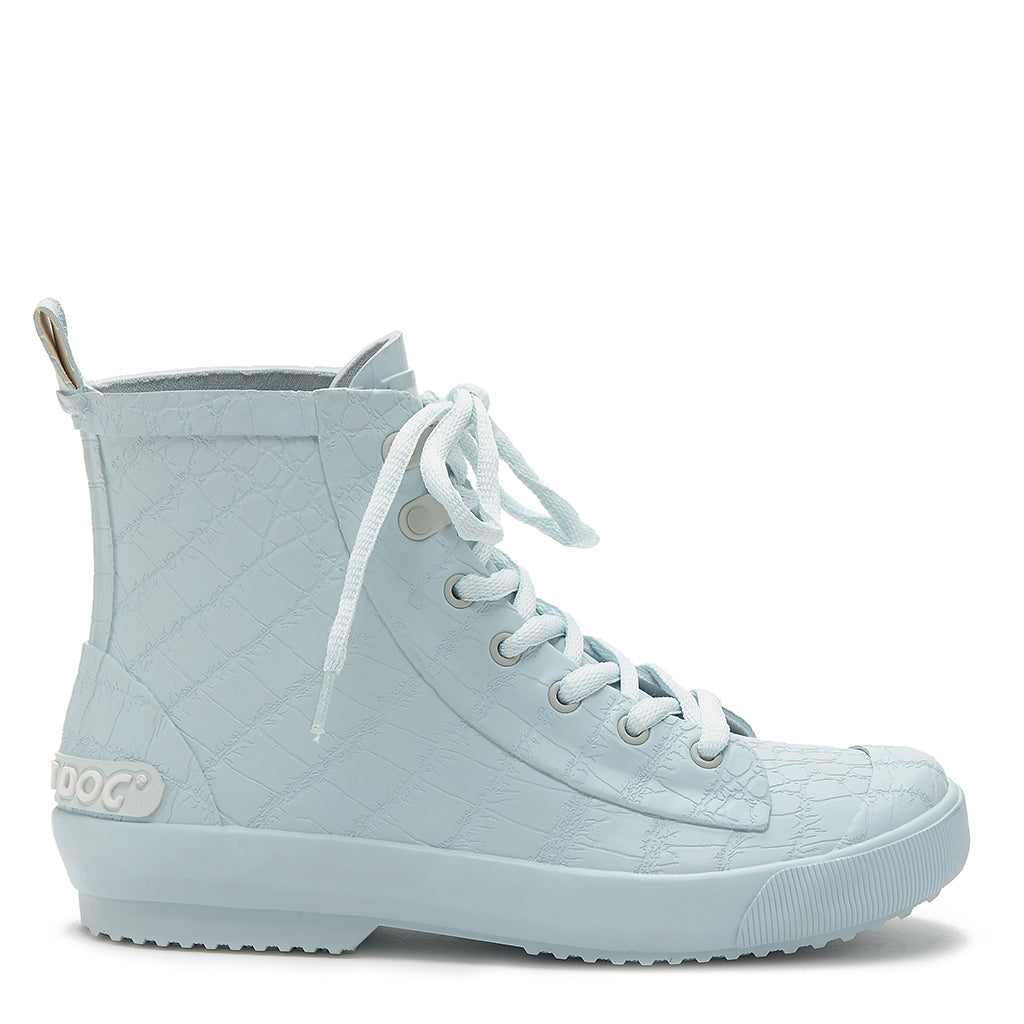 Rainy Pale Blue Lace Up Rain Boot