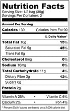 Nutrition Facts for Bakening Paleo & Vegan matcha cereal