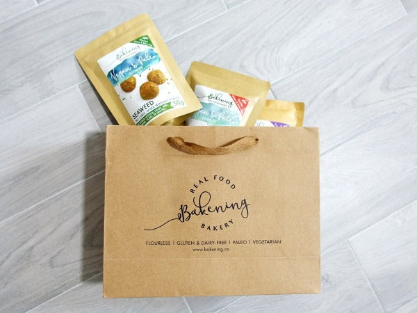 paleo and vegan flourless eggless gluten and dairy free cookies gift bag