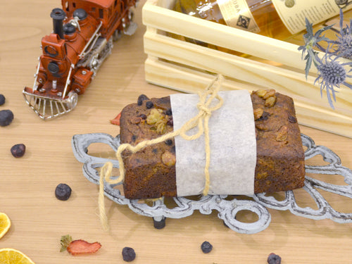 Paleo Vegetarian flourless spiced rum fruit cake with real fruits and no added fat or sugar