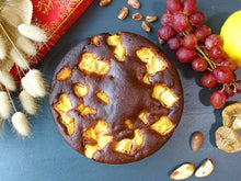 golden pineapple cake with no added sugar or fat, paleo and vegetarian, gluten and dairy free