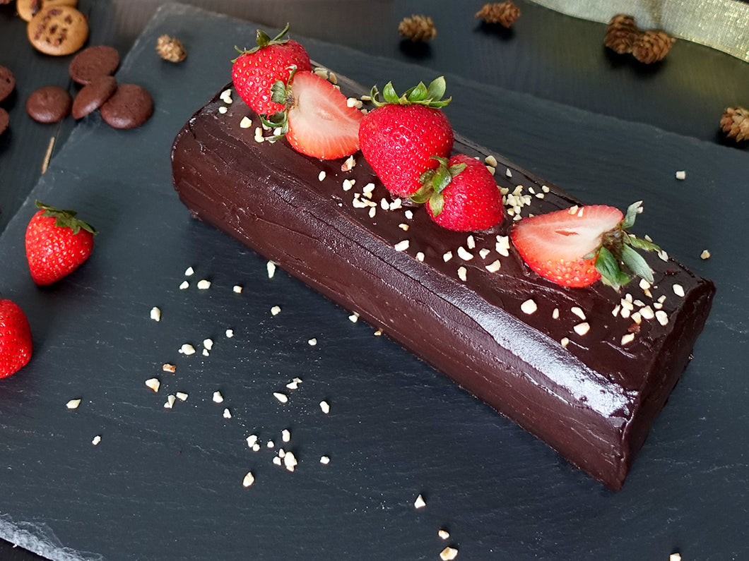 Gluten and dairy free chocolate strawberry log cake