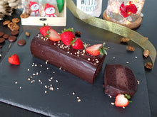 Gluten and dairy free flourless chocolate strawberry log cake