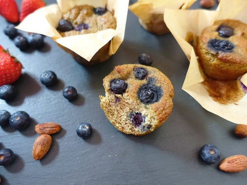 Gluten free nut-free paleo muffins with blueberries and no added fat or sugar