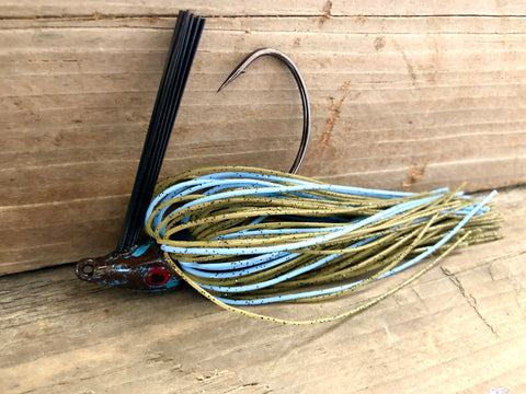 The  Green Pumpkin Jig Series with baby blue Accent