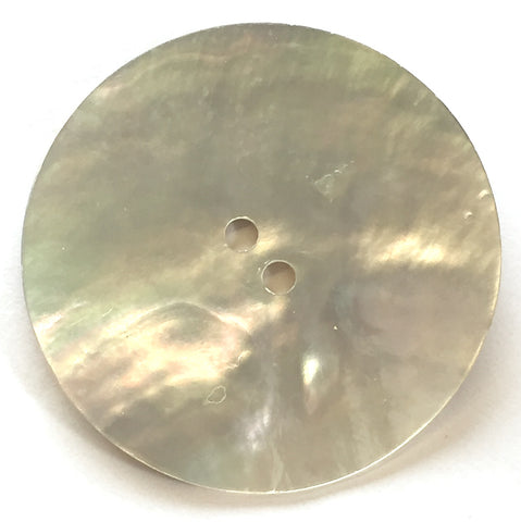 "1-5/16"" Round Natural Mother of Pearl 2-hole Button 34mm"