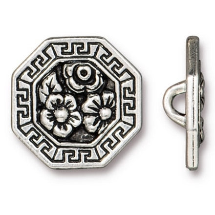 "Octagon Silver/Black Blossoms Button 11/16"" (6601-12)"
