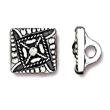 "Small ""Czech Square"" Silver/Black 3/8"" Button"
