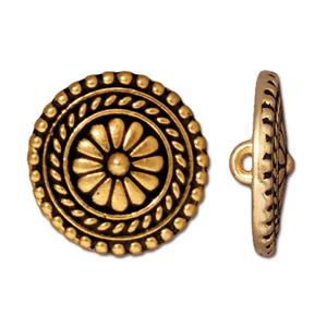 Bali Flower Button, Gold 11/16""