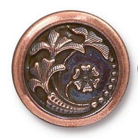 Copper/Black 'Czech Flower' Button 5/8""