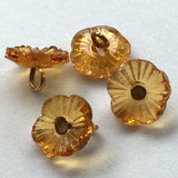 Honey Topaz Forget Me Not Vintage Glass Flower Button 3/8""