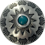 "Blue Bead Pasque Flower, 1"" Concho Button w. ""Turquoise"",  #SW-69"