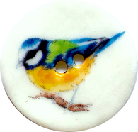 "Blue Bird Porcelain Button 1-1/8"" Handmade"