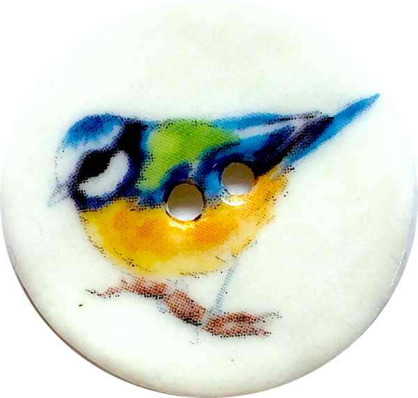 "Blue Bird Porcelain Button 1-1/8"" Handmade."