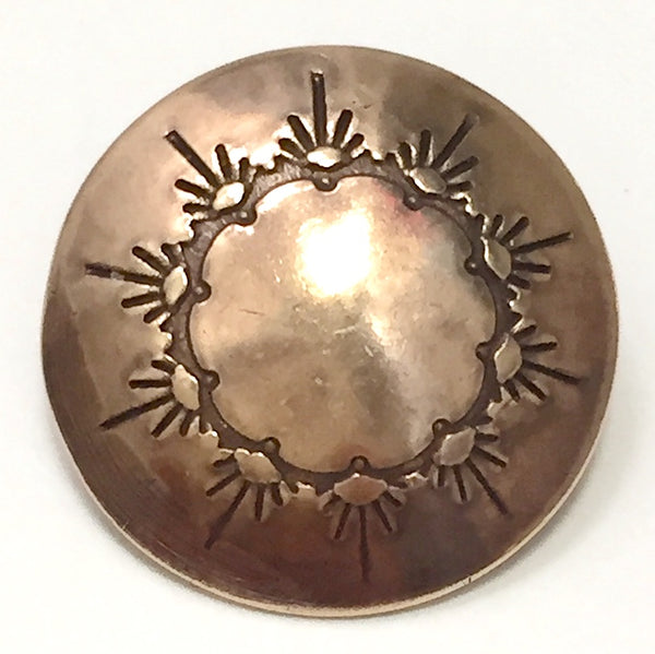 "Small Brass Southwest Ten Sunrises Concho Western Button  1/2""  #WN-42 B"