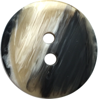 "Designer Coat Button, 1"" Black/Tans 2-Hole Round ""Aura"""