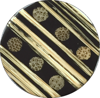 "Bamboo Dots and Stripes Black/Tan Natural  1-3/16""   # 665"