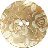 Golden Shell, White Roses Button, 15mm  5/8""