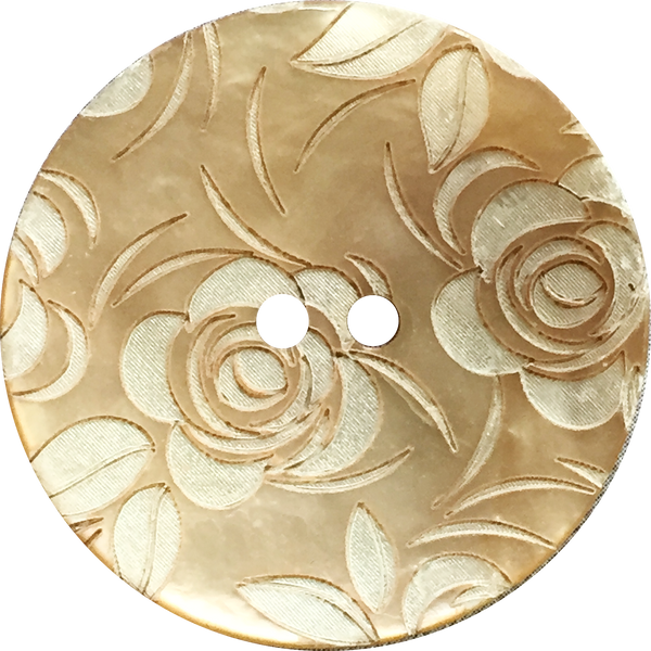 Beige and White Roses Etched Shell Button, 2 sizes
