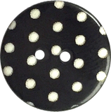 "Black with White Dots or Plain Black Button 9/16"" or 11/16"""