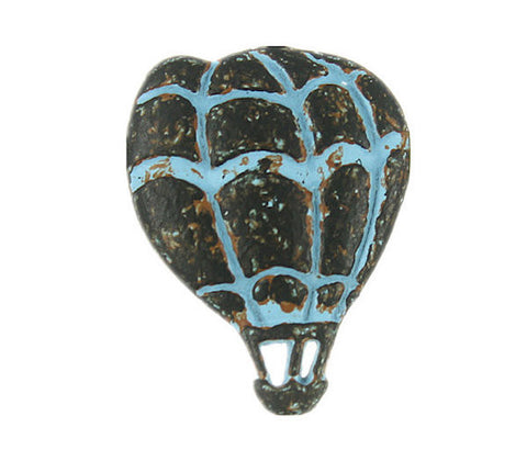 "Hot Air Balloon Blue Patina Button - 3/4"" Metal -"