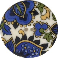 Blue Paisley Large Porcelain Button by Kate Holliday