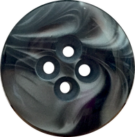 "Ocean Button 7/8"", Black Swirls, 4 Holes"
