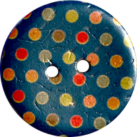 SALE Blue Coconut Button with Spots + Dots 7/8""