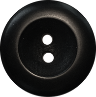 Black Corozo Tagua Round Wide Rim Velvet 2-Hole Button,4 sizes
