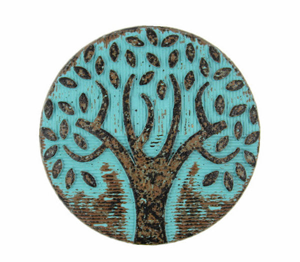 "Tree of Life, Turquoise Patina 1"" Metal Button Shank Back #SWC-31"