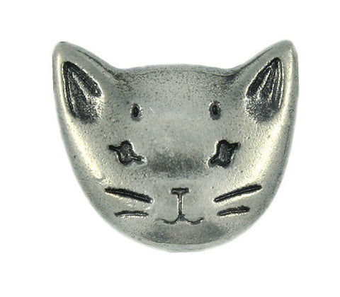"Silver Cat Metal 3/4"" Button #SWC-57"