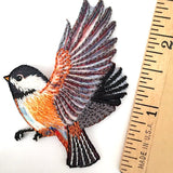 "Chickadee Bird Patch / Embroidered Applique 2.5"" x 1.75"""
