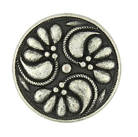 "Silver Poppy Pinwheel 3/4"" Button w. Black"