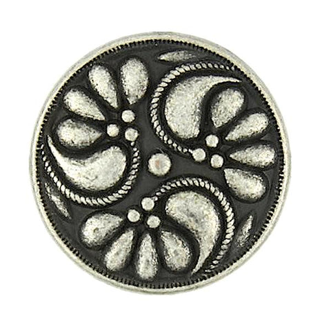 "Silver Poppy Pinwheel 3/4"" Button w. Black #SWC-20"