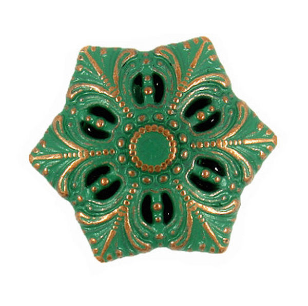 "Green Snowflake-Flower Metal Button 3/4"" Metal"