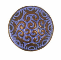 "Small Purple and Copper Scrollwork Button 5/8""  #SWC-41"