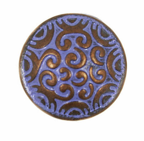 Small Purple and Copper Scrollwork Button 5/8""