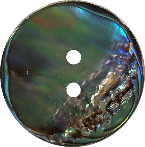 "Greens + Blues Vivid Abalone 1"" Two-Hole Button  #2258"