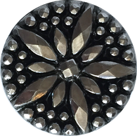 Silver/Black Faceted Glass Flower Button, Gunmetal, Vintage, 7/8""
