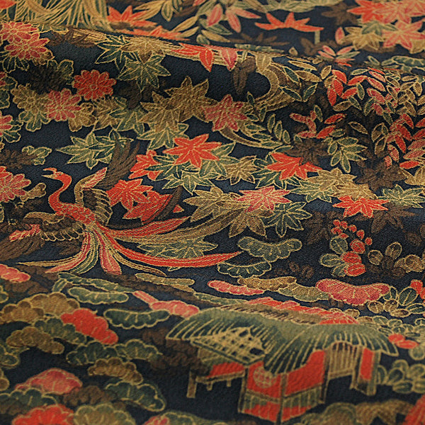 "Mountain Flight Olive/Persimmon Chirimen Silk Kimono Pieces 7"" x 59""  #4103"