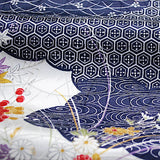 "Indigo/Cream Currents & Flowers Jacquard Kimono Silk Pieces, 6.5"" x 36""   #3895"