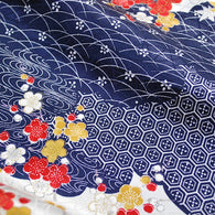 "Indigo/Cream Currents & Flowers Jacquard Kimono Silk Pieces, 7"" x 57""   #3895"